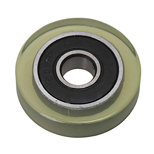 BQLZR 0.8x3x0.7cm 608 Clear PU Coated Silent Ball Bearing Pulley 85A for Banknote Counters Drawers Medical Equipment