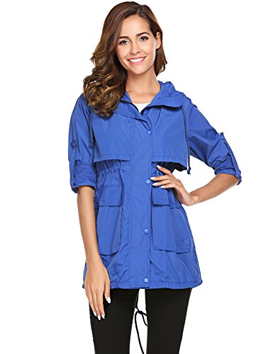 Jackets with Blue Women Sleeve Meaneor Hoodie Solid Raincoat Long Lightweight Drawstring vZxREznRF