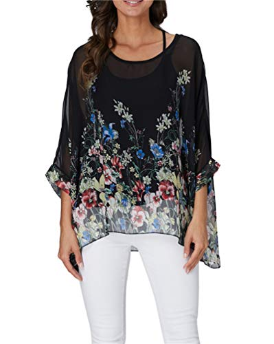 Nicetage Women Chiffon Blouse Floral Batwing Sleeve Beach Loose Tunic Shirt Tops 4326 ()
