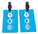 Peace Love Swim Sky Blue Design Plastic Flexi Luggage Identifier Tags + Strap Closure