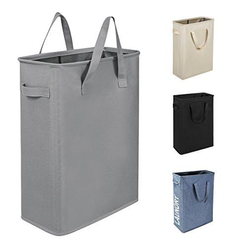 WISHPOOL Slim Waterproof Foldable Laundry Hamper Bag Handy Collapsible Oxford Cloth Basket Bin Organizer Sorter with Handle 15.2X8.5X21 Inch(Grey) by WISHPOOL