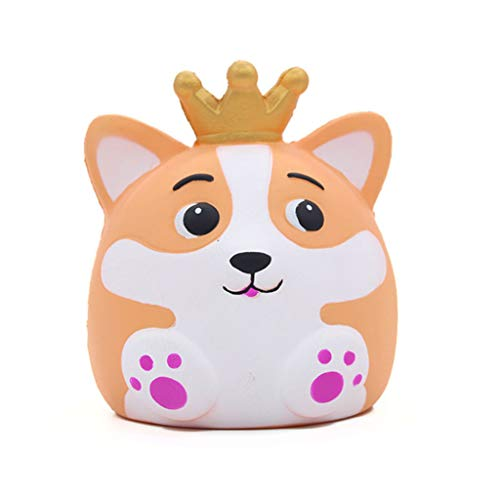 Livoty Jumbo Squishies Toy Kawaii Crown Fox Soft Cream Scented Slow Rising Squeeze Toy Relieve Stress Toys (Yellow)