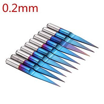 RanDal /10 St/ücke 0,1//0,2//0,3//0,4Mm 10 Grad Flachboden Pcb Gravur Bit Blau Nano Beschichtetem Hartmetall Cnc Router Werkzeug-0,2Mm
