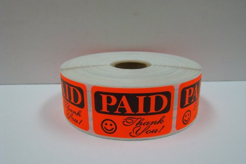 10,000 Labels of the 1.25x2 RCR Bright Red PAID THANK YOU Retail Price Point Labels Stickers (10 Rolls of 1,000 Labels each Roll) by Labels and More
