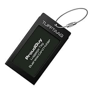Luggage Tag Business Card Holder TUFFTAAG SINGLE Travel ID Bag Tag - Black