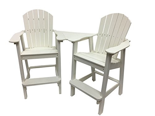 Phat Tommy Recycled Poly Resin Balcony Chair Settee - Durable and Adirondack Patio Furniture, White