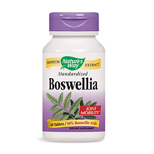 Nature's Way Standardized Boswellia; 40% Boswellic Acids per serving; TRU-ID Certified; Vegetarian; 60 Tablets (Packaging May Vary)