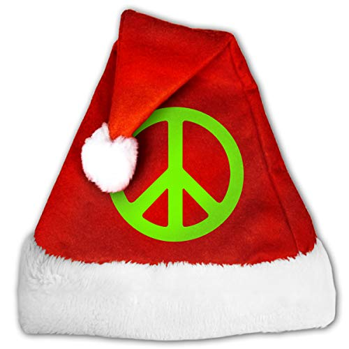 TCCZQ Green Natural Peace Sign Unisex Velvet Fabric Santa Hat Party Accessory Christmas Holiday Hat