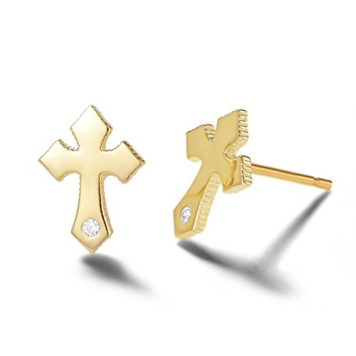 Carleen 14k Gold Plated Sterling Silver Clear CZ Cubic Zirconia Cute Dainty Petite Small Tiny Cross Stud Earrings For Women Girls Teens, Size 6mm X 10mm (Yellow Gold 1 CZ)
