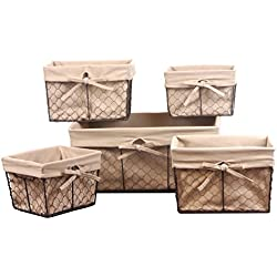 Home Traditions Vintage Metal Chicken Wire Storage Basket with Removable Fabric Liner, Set of 5 Mixed Nesting Sizes, Natural