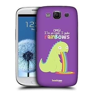 AIYAYA Samsung Case Designs Dinosaur Rainbow Puke Protective Snap-on Hard Back Case Cover for Samsung Galaxy S3 III I9300