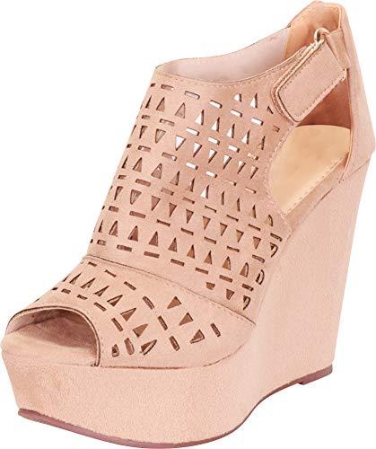 (Cambridge Select Women's Open Toe Laser Cutout Caged Chunky Platform Wedge Sandal,10 B(M) US,Taupe IMSU)