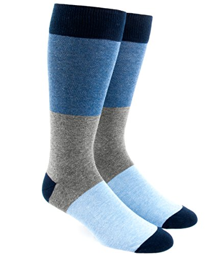 Colorblock Tie (The Tie Bar Colorblock Blues Men's Cotton Blend Dress Socks)