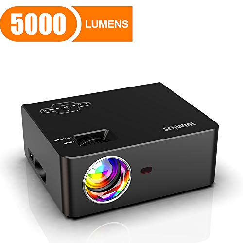 Mini Projector, WiMiUS 5000 Lumens Portable Video Projector, Full HD 1080P 200″ Screen 60000Hrs Led Supported, Outdoor & Home Movie Projector Compatible with Fire TV Stick, PS4, Laptop, Smartphones