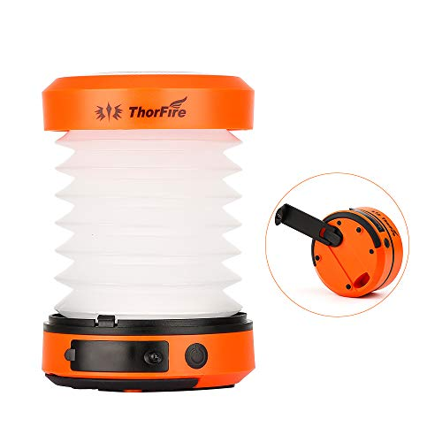 (ThorFire LED Camping Lantern Lights Hand Crank USB Rechargeable Lanterns Collapsible Mini Flashlight Emergency Torch Night Light Tent Lamp for Camping Hiking Tent Garden Patio -)