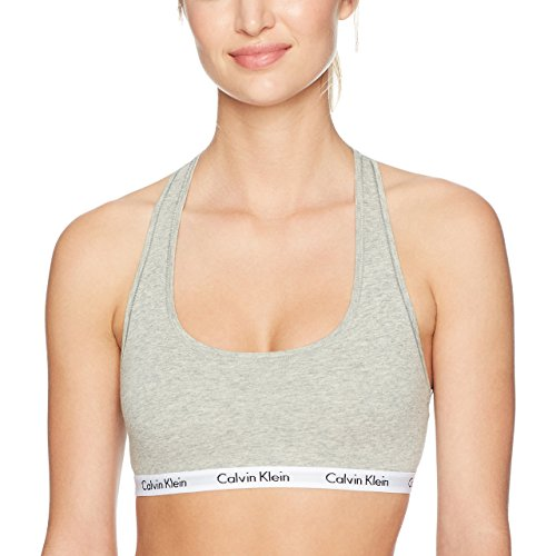 Calvin Klein Women`s Modern Cotton Bralette 1 Pack (Heather Grey(QP1036O-020)/White, Small) by Calvin Klein