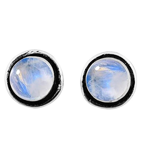 8x8mm Round Genuine Rainbow Moonstone & 925 Silver Plated Stud Earrings