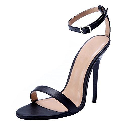 d26e91f25a6 Galleon - MAIERNISI JESSI Unisex Men s Women s Classic Two Straps Stiletto  High Heel Sandals Matt Black EU39 - Size Women US8.5-Men US6.5