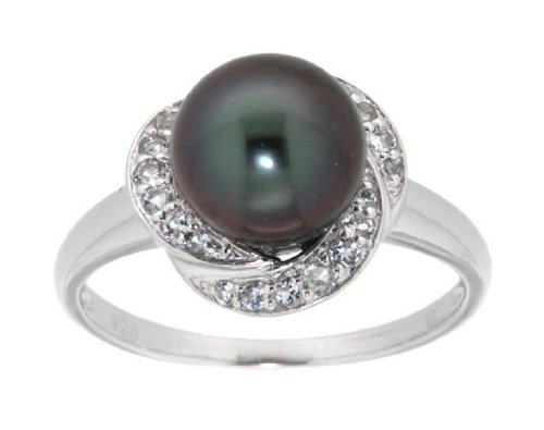 Pearlz Ocean Tahitian Pearl and White Topaz Sterling Silver Ring 6 Jewelry for Women - Ocean White Pearl Ring