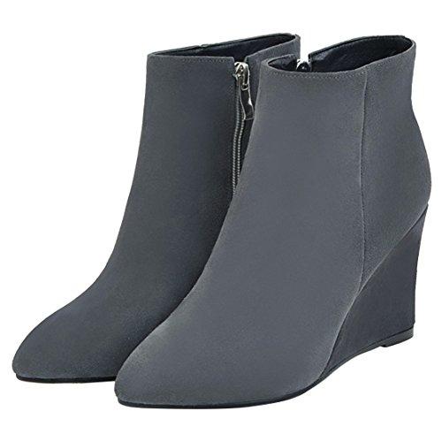 AIYOUMEI Damen Spitz Zehen Reißverschluss Keilabsatz Stiefeletten mit 9cm Absatz High Heels Keilstiefeletten Grau
