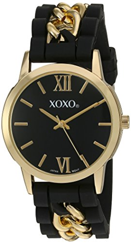 Xoxo women 39 s quartz metal and rubber watch color black model xo8101 buy online in uae for Watches xoxo