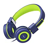 Elecder i37 Kids Headphones for Children, Girls, Boys, Teens, Adults, Foldable Adjustable Over Ear Headsets with 3.5mm Jack for iPad Cellphones Computer MP3/4 Kindle Airplane School Tablet(Blue/Green)