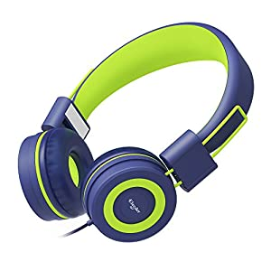 Elecder i37 Kids Headphones Children Girls Boys Teens Foldable Adjustable On Ear Headsets 3.5mm Jack Compatible iPad Cellphones Computer MP3/4 Kindle Airplane School Tablet Navy