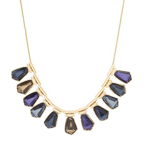 Catherine Malandrino Women's Blue Multi-Tonal Stone Bib Style Yellow Gold-Tone Necklace by Catherine Malandrino