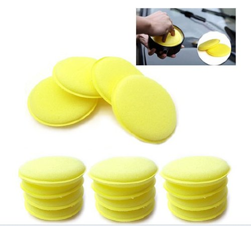 12pcs Waxing Polish Wax Foam Sponge Applicator Pads Fit for Clean Car Vehicle Auto Glass High_quality Yellow Useful - Foam Wax