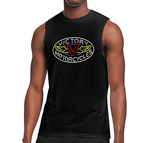 (TIANXIN Design Handcraft Victory Motorcycle Logo Breathable 100% Soft Cotton Sleeveless T-Shirt for Man O-Neck XXL Black)