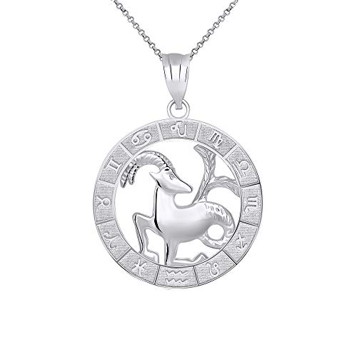 CaliRoseJewelry Sterling Silver Capricorn Zodiac Pendant Necklace, ()