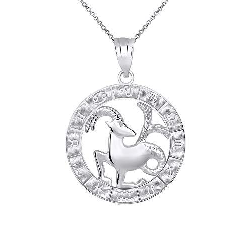 CaliRoseJewelry Sterling Silver Capricorn Zodiac Pendant Necklace, - Zodiac Pendant Charm Capricorn