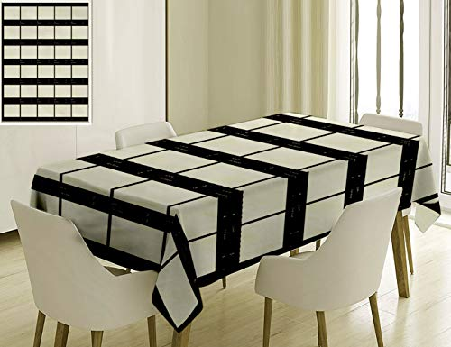 - Unique Custom Cotton and Linen Blend Tablecloth 2 Film Decor Ribbons Photographic Film On A White Background Films Brand Photographic Negatives Black Tablecovers for Rectangle Tables, 86 x 55 Inches
