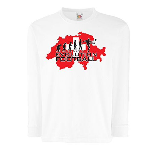 fan products of lepni.me T-Shirt For Kids Evolution Football - Switzerland (14-15 Years White Multi Color)