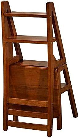 XIN Escaleras multiusos para niños Taburete con peldaño Silla de escalera plegable de madera maciza de roble Silla con escalera de doble capa de cuatro capas Silla de cocina creativa para dormitorio: