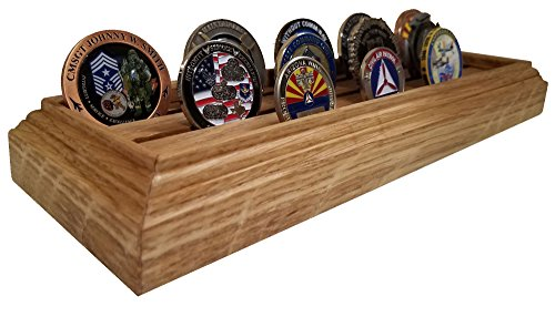 Red Barn Workshop, L.L.C. 3 Rows (15-21 Coins) Genuine White Oak Wood Military Challenge Coin Rack/Display Stand Holder Tray - Veteran Made in the USA Oak Challenge Coin