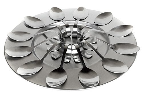13 Piece Stainless Steel Taster Spoon Set With Serving Tray