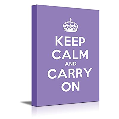 Canvas Wall Art Gallery Wrap Canvas Prints - Keep Calm and Carry On | Stretched Purple Canvas Home Art Ready to Hang - 16