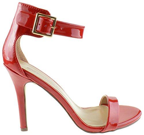 Breckelles Sydney 41b Kvinnor Hög Klack Öppen Tå Ankel Stilett Pumpar Sandaler Röd Patent Röd