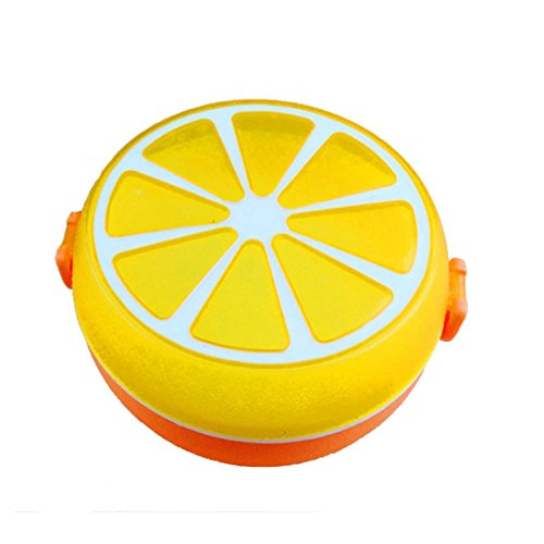Fabal Round Lunch Bowl Cutlery Plastic Lunch Box Bento Storage Kids Bowl Food Container Plate Dinnerware Sets (Orange)