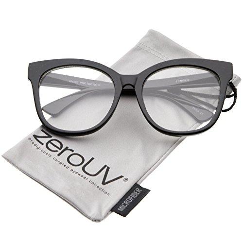 zeroUV - Women's Horn Rimmed Clear Flat Lens Oversize Cat Eye Glasses 57mm (Black / - Glasses Rimmed Cat