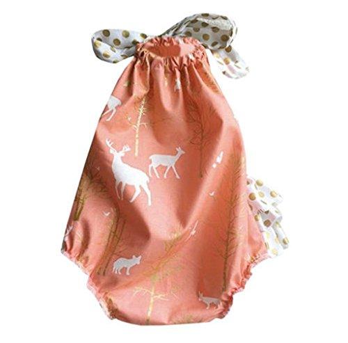 Morecome Baby Girls Floral Romper Halter Jumpsuit Pants (3M, Orange)