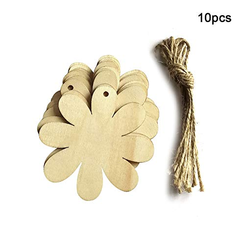 ADSRO Wood Spring Garden Flowers Crafts Tags, Easter DIY Hemp Pendant Blank Wood Chips Antique Christmas Hanging Ornaments
