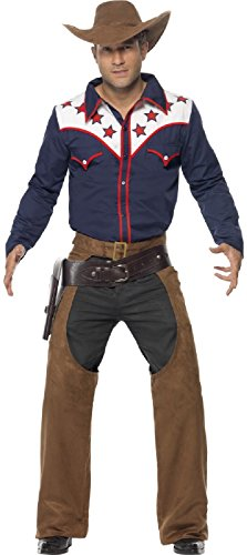 Mens Modern Rodeo Cowboy Wild West Bucking Bronco Sheriff Stag Do Carnival Party USA Fancy Dress Costume Outfit M L -