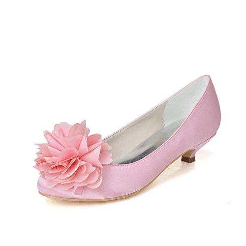 D'honneur Chaussures Cour Satin 02 Rond Szxf9001 Chaton Demoiselle De Mariage De Mariée Bout Fleur Bal De De Femmes Chaussures Sarahbridal Rose Talon apYwS