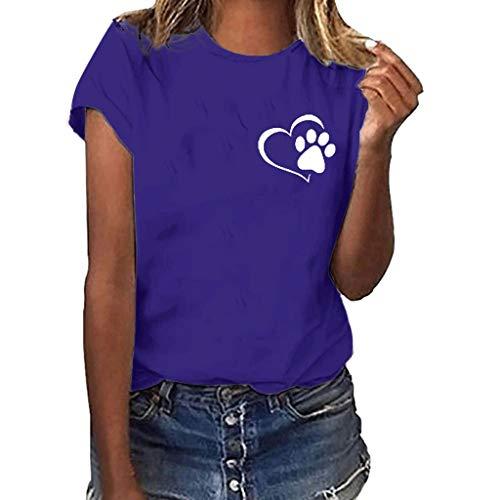 Sunhusing Ladies Solid Color Round Neck Short-Sleeve T-Shirt Cute Love Heart Paw Printing Joker Top Tee ()
