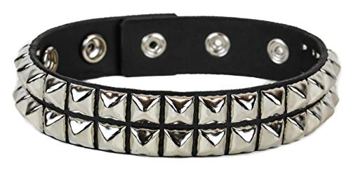 (Leather Double Studded Armband Fetish Rock Queen Mercury 3 Snap Gear Black)