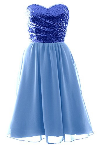 MACloth Elegant Strapless Short Bridesmaid Dress Sequin Chiffon Formal Gown Royal Blue-Sky Blue