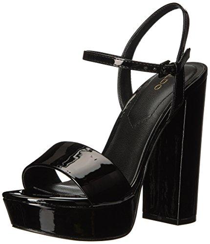 Aldo Kvinners Kandie Plattform Kjole Sandal Sort Patent