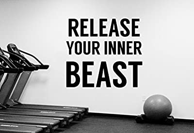 Gym Quote Wall Decal Motivational Vinyl Sticker Release Your Inner Beast Inspirational Art Decorations for Home Sports Room Fitness Training Center Studio Decor fgm1